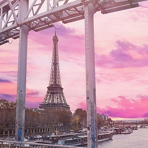The bridge of love with the view to Eiffel Tower
