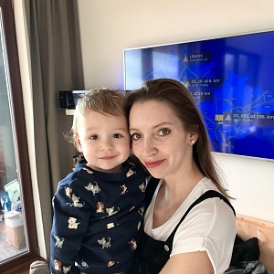 Monika Hejduková with her son