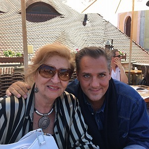 With the most beautiful woman - his mother